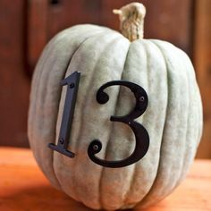 Decorate a plain pumpkin with house numbers!
