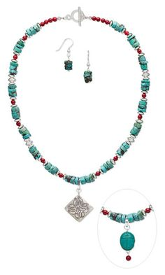 Single-Strand Interchangeable Necklace and Earring Set with Turquoise Gemstone Beads, Coral Beads and Sterling Silver Beads - Fire Mountain Gems and Beads