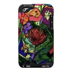A beautiful drawing of flowers on an ipod case design.