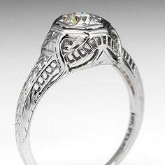 Antique Belais Filigree Engagement Ring 18K White Gold