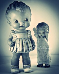 Boo dolls funny vintage pair of dolls 40s humorous 8x10 fine art photograph. Shop: LookingAtClouds