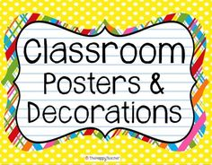 198 posters, signs, and classroom decorations!  Brightly colored and a great way to lighten up your room! Includes a welcome poster, six table signs, cards for labeling cubbies or student folders, 19 subject area posters, days of the week cards, months of the year cards, number cards (1-50), alphabet cards/Word Wall headers, 40 Literacy Center/Station posters, and Daily 5 anchor chart labels!  $