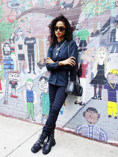DJ and style guru Vashtie Kola keeps it cool in Gap black denim and an oxford shirt. Get her look on gap.com.