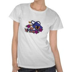 Floral Art Watering Can Design Shirts #gardening #flowers #shirts #art #floral #zazzle #petspower