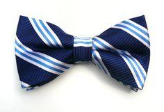 Silk Woven Navy Stripe Self-Tie Bow Tie