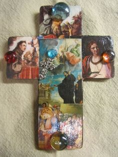 Wooden Wall Cross Decoupaged Religious Images