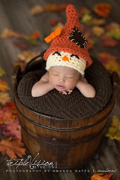 Newborn+Scarecrow+Hat+Halloween+Fall+Crochet+Photo+Prop+0-12+Months