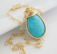 Turquoise Necklace Necklace  Gemstone Necklace  by Jewels2Luv, $28.50