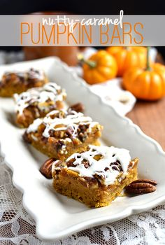 This fall dessert features pumpkin, pecans, and sweet caramel in one irresistible recipe. @Sara Baker Royale | Naomi shows you how to make these Nutty-Caramel Pumpkin Bars on Delish Dish: http://www.bhg.com/blogs/delish-dish/2013/10/23/fall-baking-favorite-nutty-caramel-pumpkin-bars/?socsrc=bhgpin102513pumpkinbars