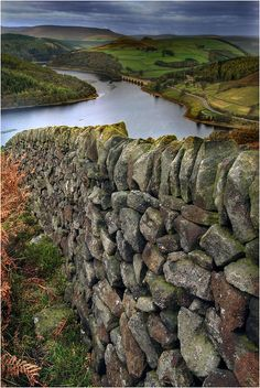 Dry stone wall above the Ladybower Reservoir in Derbyshire, England (by Simon Bull Images).    Beautiful England.