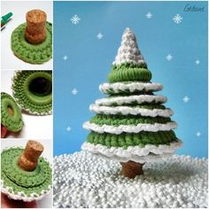 Crochet around graduated rings and assemble to make a Christmas tree.
