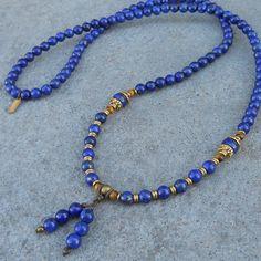 Compassion, Lapis Lazuli gemstone 108 bead mala convertible necklace