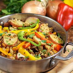 Italian Sausage, Pepper, and Potato Skillet starts with creating your own sausage flavor using lean chicken breast & Ready in 30 minutes italian sausag, sausages, peppers, chicken breasts, sausage and potatoes italian, pepper skillet, food, potato skillet, recip