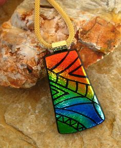 Dichroic Glass Necklace Dichroic Jewelry Fused Glass by GlassCat, $32.00