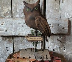 Owlyn the Primitive Owl by Countryfolk Keepsakes