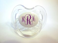 Set of 2 Monogrammed Avent Pacifiers 06 by EmbellishmentByKelly, $15.00 monogram avent, pacifi 06, avent pacifi