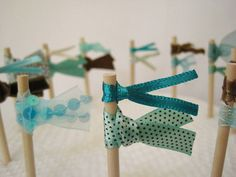 Sew Sweet Violet ~ Set Of Twelve Handmade Ribbon Cake Toppers