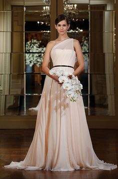 Blush pink wedding dress from Romona Keveza Collection, Spring 2015