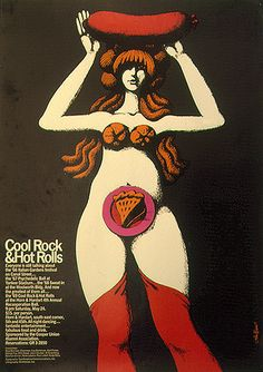 Cool Rock and Hot Rolls poster by John Alcorn