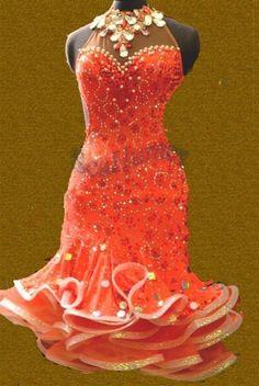 1161c Grand Ballroom lady rumba samba salsa latin chacha Dance Dress tutu US 10 #Tailormade