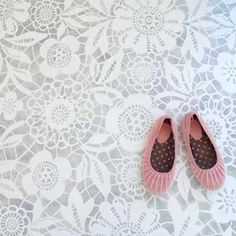 Floral lace stencil for the floor!  LOVE love love!  Perhaps a future craft room?