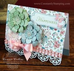 Covering the Everyday Elegance die cut border cards and adding a bundle of flowers from Blossom Party die