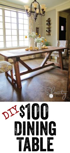 DIY Dining Table - Free plans to build this Restoration Hardware style table from Shanty-2-Chick.com