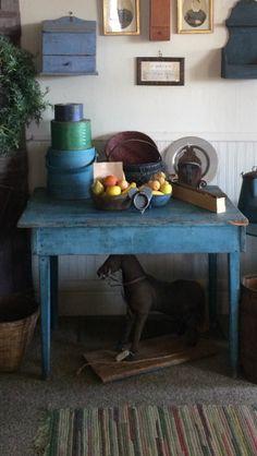 "AAFA Antique Farmhouse Table Early ""Robins Egg Blue"" Paint Wonderful $475"
