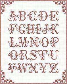 Cross-stitched alphabet - Digital Printable Wall Art  alphabet - INSTANT DOWNLOAD Pack 197. $3.50, via Etsy.