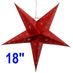 """Star Paper Lantern 18"""" Red Color  Dimension: 18 Inches  Bulb and cord are not included"""