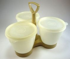 Tan and White Tupperware Triple Condiment by myatticstreasures, $8.88