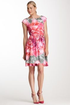 Cap Sleeve Layered Printed Dress - such a pretty watercolour-like pattern