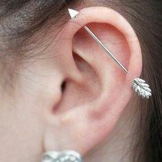 #bow #arrow #industrial #bar #piercing #piercings #ear #silver