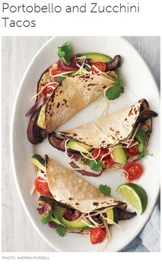 Meatless Monday with Portobello and Zucchini Tacos; skip cheese or use vegan cheese