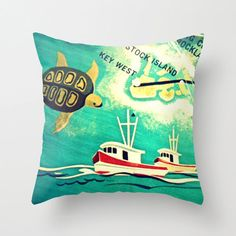 Map Pillow | Key West Florida Keys Stock Island Beach House | Decorative Throw Pillow Cover | Retro Way Cool Sea Turtle Pillow Vintage Map