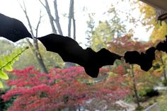 One of our favorite DIY halloween decorations is this simple felt bat garland. It looks great inside on the wall or outside on the front porch!