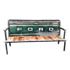 Talk about the ultimate form of recycling! Love this! blue collar, old trucks, ultim form, garden benches, ultim upcycl, green ford, tailgate bench, truck bench, recycled tailgate