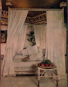 An Ancient Egyptian inspired boudoir that I found in a magazine during the late 70's. I honestly cannot remember which one. This was during the time of the Tour of Tutankhamen. It was modeled after the bedroom suite of Queen Hetepheres, mother of the Phar