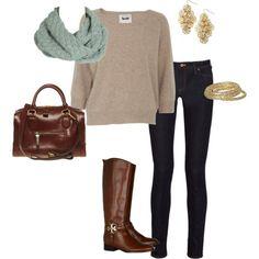 Beige sweater, light teal scarf, dark skinny jeans, brown accessories.
