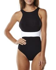 JETS CLASSIQUE HIGH NECK ONE PIECE - BLACK WHITE on http://www.surfstitch.com