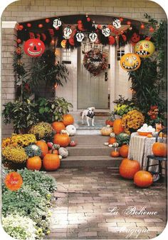 front walk decor, love the hanging lantern jacks