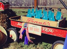 """Cute Idea, for a """"Hay Ride"""" might borrow mom's red wagon for Hay rides, or for photo op with hay bales?? country fair, county fair party, birthday parties, counti fair, red wagon, fair birthday, wooden crates, 1st birthdays, radio flyer"""