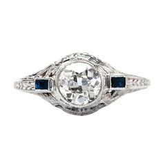 Hello, you beautiful thing you!! Telluride is a gorgeous vintage Edwardian diamond and sapphire engagement ring from Trumpet & Horn! // $5,700