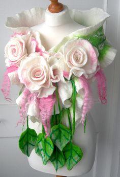 Wool felted woman ART scarf ,shawl-WEDDING BLOSSOM -2