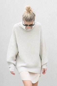 white, fashion, fall, chunky knit