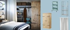 HYLLIS shelving unit in galvanised steel and FJELL wardrobe with 2 doors in solid pine