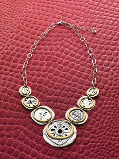 #Boho # Bib #Necklace // Your Bohemian style comes full circle with this two-toned Necklace. #Brass, #Sterling #Silver #Silpada #Jewelry