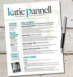 The Katie Lyn Signature Resume Template Design - Graphic Design - Marketing - Sales