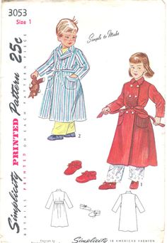 Original 1940s Vintage Simplicity  Printed Pattern Child Robe and Slippers Sewing Pattern Simplicity 3053 Size 1