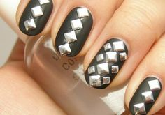 Black Nails With Silver Stud Design #nails